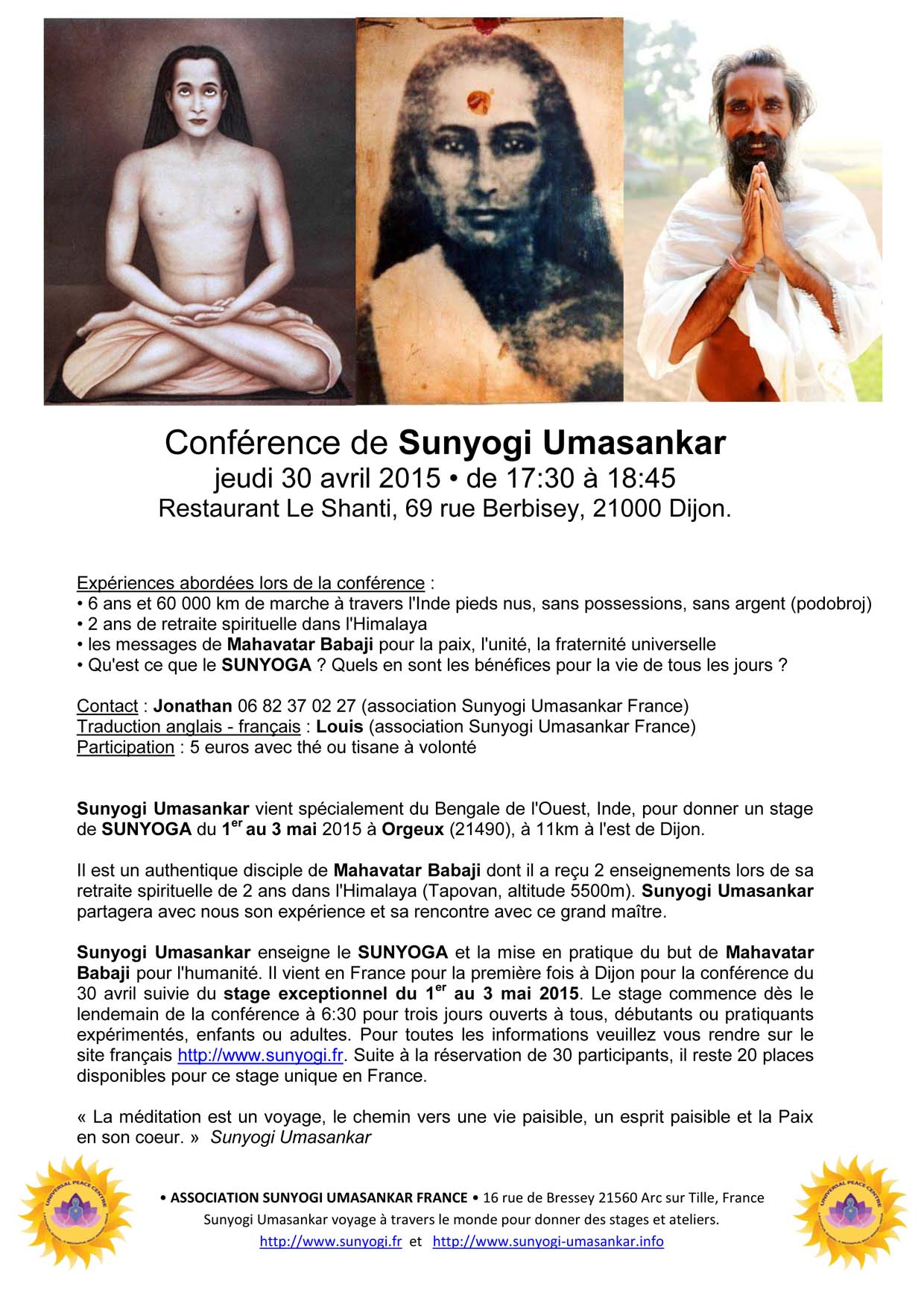 Conférence Sunyogi 30 avril 2015 17h-18h45 au Shanti Dijon-